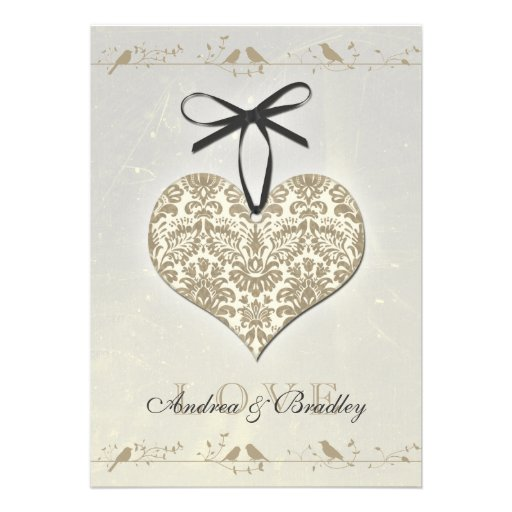 Grey Vintage Damask Heart Wedding Invitation
