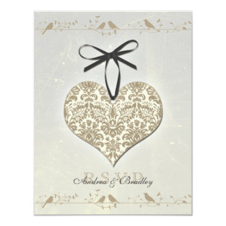 Grey Vintage Damask Heart Wedding Reply Card 11 Cm X 14 Cm Invitation Card