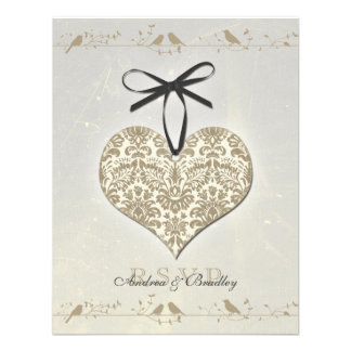Grey Vintage Damask Heart Wedding Reply Card