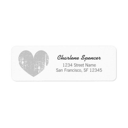 Grey vintage heart design Return Address Labels