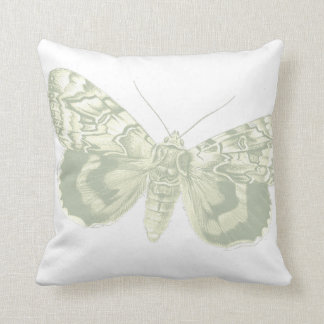 Grey Vintage Moth   Butterfly Pillow