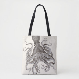Grey Vintage Octopus Illustration Tote Bag