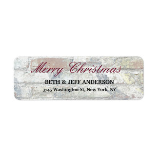 Grey Wall Merry Christmas Message Family Sheet Return Address Label