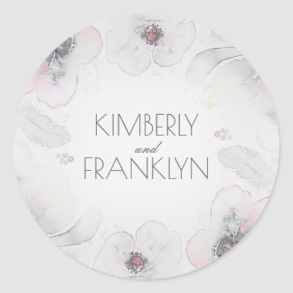 Grey Watercolor Flowers Boho Feathers Wedding Classic Round Sticker
