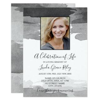 Grey Watercolor - Photo - Celebration of Life Card
