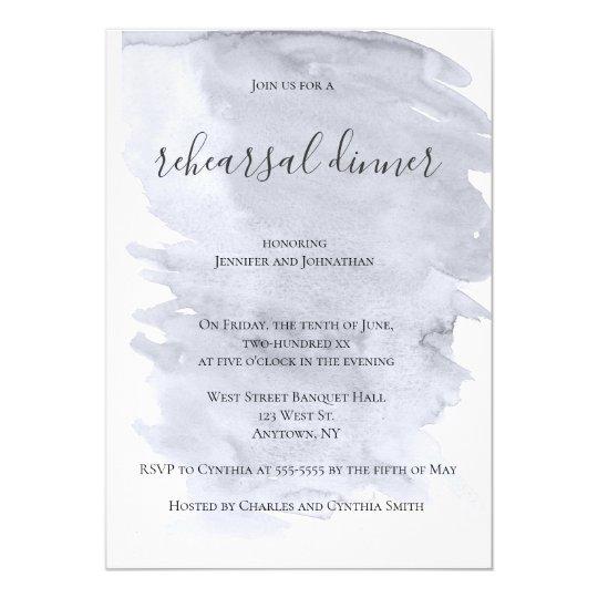 Grey watercolor rehearsal dinner invitations