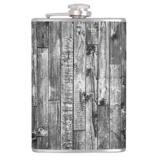 Grey Weathered Wood Wall Texture Hip Flask