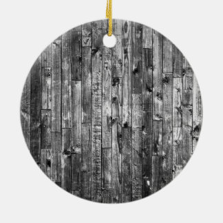 Grey Weathered Wood Wall Texture Round Ceramic Decoration