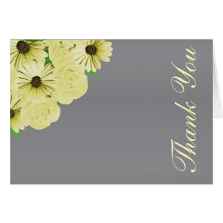 Grey Wedding Satin and Yellow Floral Card