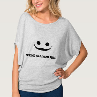 Grey We're All Mad Here Creepy Smile Tee