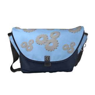 Grey Wheels circles theme messenger bag