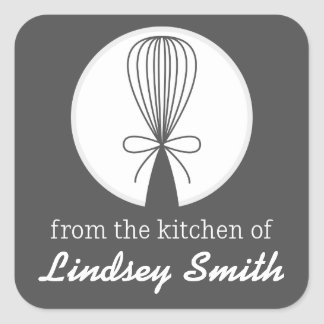 Grey Whisk Silhouette Kitchen Labels