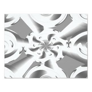 Grey White 11 Cm X 14 Cm Invitation Card