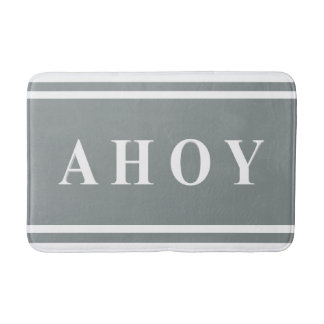 Grey White Ahoy Sailing Stripe Pattern Bath Mat