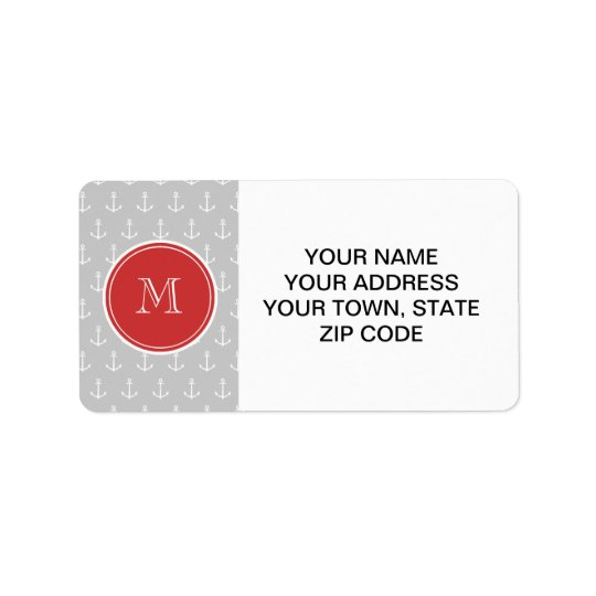Grey White Anchors Pattern, Red Monogram Address Label