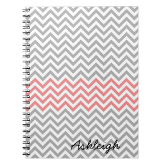 Grey, White and Coral Chevron Spiral Notebook