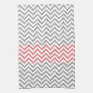 Grey, White and Coral Chevron Tea Towel