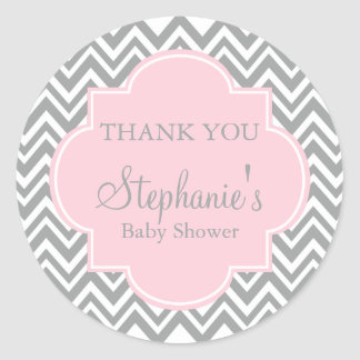 Grey, White and Pastel Pink Chevron Baby Shower Classic Round Sticker