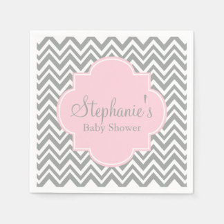 Grey, White and Pastel Pink Chevron Baby Shower Disposable Serviette