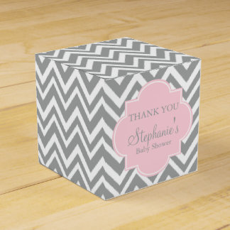 Grey, White and Pastel Pink Chevron Baby Shower Favour Box