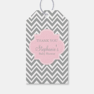Grey, White and Pastel Pink Chevron Baby Shower Gift Tags