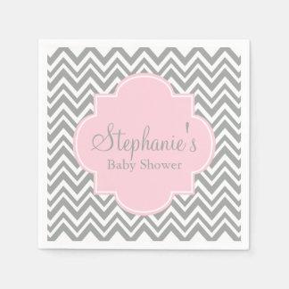Grey, White and Pastel Pink Chevron Baby Shower Paper Napkin