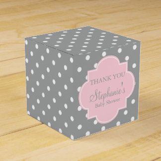 Grey, White and Pastel Pink Polka Dot Baby Shower Favour Box