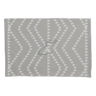 Grey White Arrows Pattern  Monogram Pillow Case