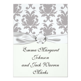 grey white baroque damask 17 cm x 22 cm invitation card