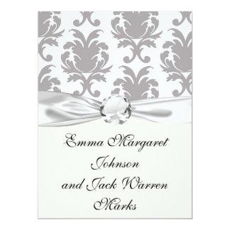 grey white baroque damask custom invite