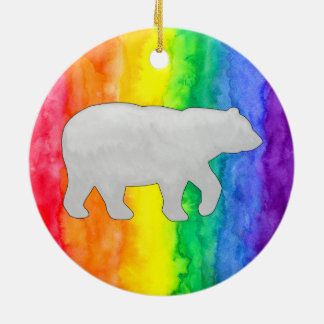 Grey White Bear on Rainbow Wash Circle Ornament
