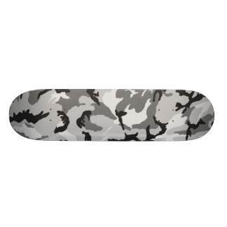 Grey White Black Camouflage Skateboard