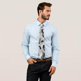 Grey White Black Camouflage Tie