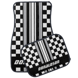 Grey, White & Black Checks & Stripes | Personalise Car Mat