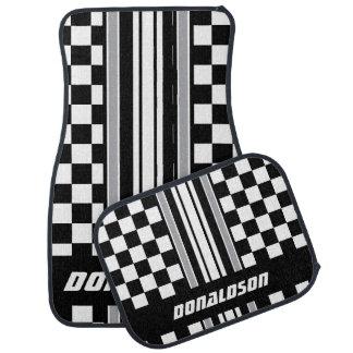Grey, White & Black Checks & Stripes   Personalise Car Mat