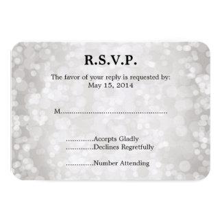 Grey White Bokeh Wedding RSVP Custom Invites