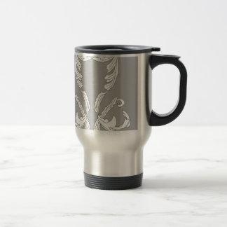 Grey White Brocade Designer Elegance Stainless Steel Travel Mug