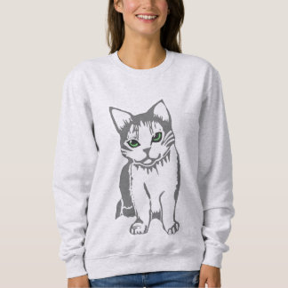 Grey White Cat with Jade Eyes Women's Sweatshirt