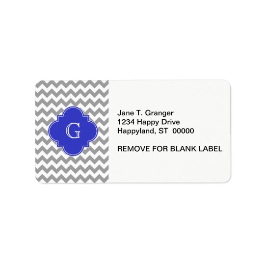 Grey White Chevron Cobalt Blue Quatrefoil Monogram Address Label