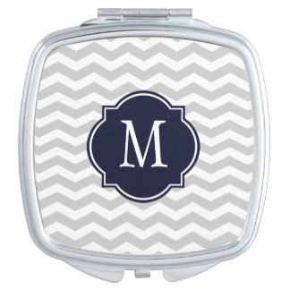 Grey & White Chevron Monogram Travel Mirror