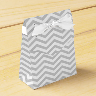 Grey, white chevron zigzag pattern wedding favour box