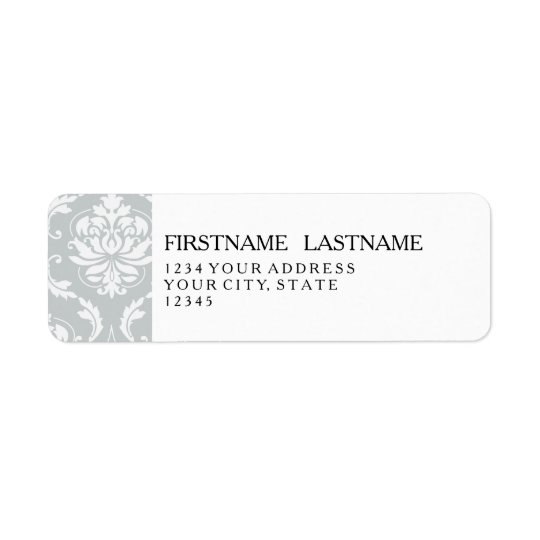 Grey White Classic Damask Pattern Return Address Label