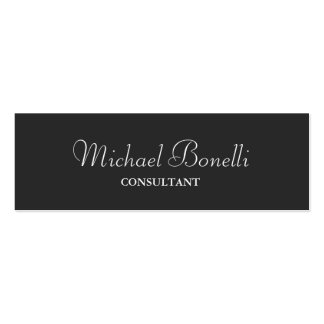 Grey White Classical Script Double-Sided Mini Business Cards (Pack Of 20)
