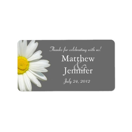 Grey & White Daisy Wedding Favour Labels /