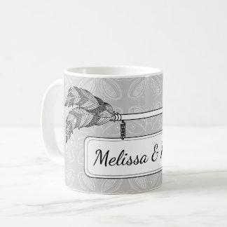 Grey White Doodle Art Arrow Banner Sign Wedding Coffee Mug
