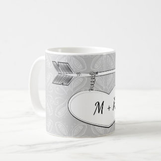 Grey White Doodle Art Arrow Heart Banner Wedding Coffee Mug