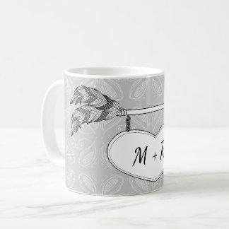 Grey White Doodle Art Heart Arrow Banner Wedding Coffee Mug