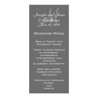 Grey White Elegant Monogram Wedding Menu Cards Customised Rack Card
