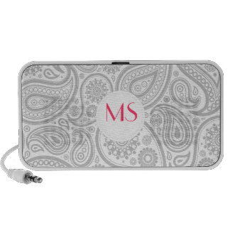 Grey White Flora Pattern Mp3 Speakers