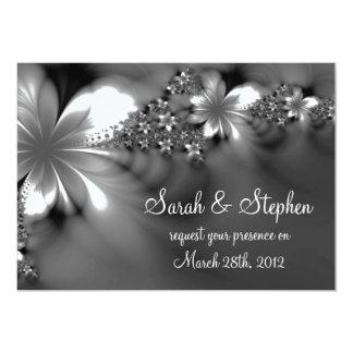 Grey white flower wedding invitation